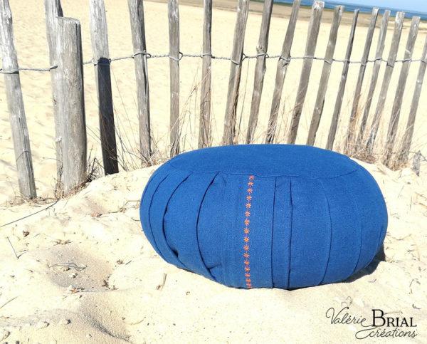 Coussin de méditation zafu bleu roy balle d'épeautre bio