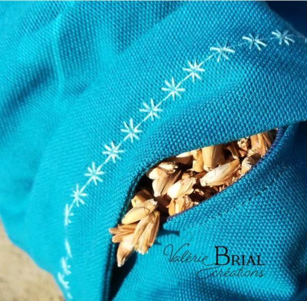 Zafu balle d'épeautre biologique bleu canard