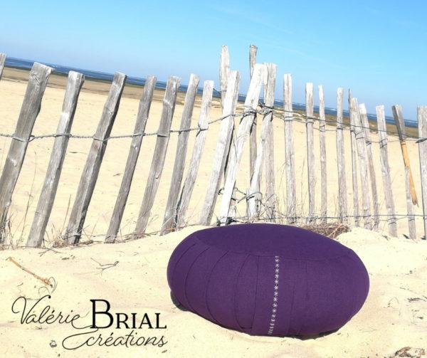 Coussin de yoga zafu balle d'épeautre violet