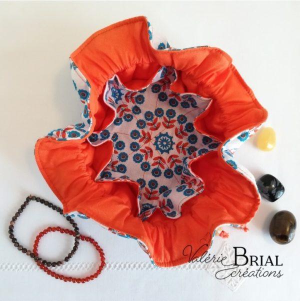 Bourse en coton à compartiments Fleur bleue